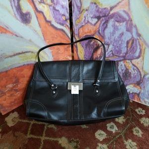 Black Leather Etienne Aigner Shoulder Bag
